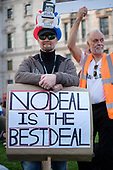 No Deal Is The Best Deal.  Pro Brexit protestors outside Parliament on the day the UK was scheduled to leave the EU, Westminster, London.