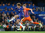 Chelsea's Marcos Alonso tussles with Manchester City's Kevin De Bruyne during the Premier League match at the Stamford Bridge Stadium, London. Picture date: April 5th, 2017. Pic credit should read: David Klein/Sportimage