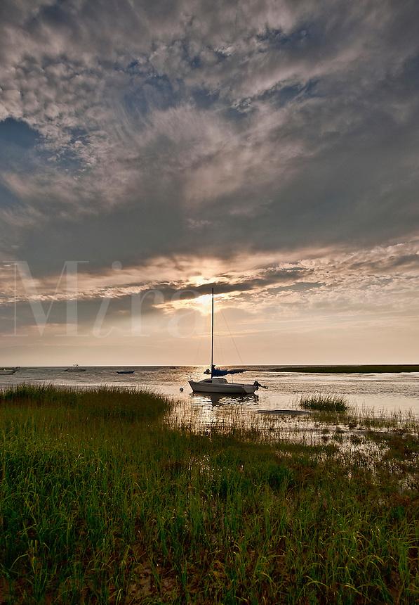 Boat at sunset, Cape Cod, MA, Massachusetts, USA
