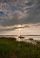Boat at sunset, Cape Cod, MA, Massachusetts, USA