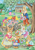 Interlitho, EASTER, OSTERN, PASCUA, paintings+++++,5 rabbits,wheekbarrow,KL4498,#E#