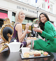 NO REPRO FEE. 4/8/2011. A Taste of Carton House in Brown Thomas Dublin.Browns Bar and Café by Carton House opens in Ireland's Premier Department Store. Models Teo Sutra and Angelica Salomao were pictured today ( August 4th 2011) indulging in Afternoon Tea with a stylish twist outside Brown Thomas Dublin on Grafton Street as Carton House, one of Ireland's most luxurious hotels, officially opened the doors of the most fashionable café in the heart of Dublin - Browns Bar & Café by Carton House which is housed within the iconic department store. Picture James Horan/Collins Photos