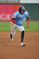 Cedar Rapids Kernels shortstop Royce Lewis (30) runs to third base against the South Bend Cubs at Veterans Memorial Stadium on May 1, 2018 in Cedar Rapids, Iowa.  (Dennis Hubbard/Four Seam Images)