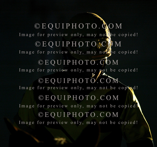 A jockey prepares to ride at  Gulfstream Park in Hallandale Beach, Florida
