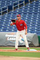 Clearwater Threshers first baseman Kyle Martin (27) waits for a throw during a game against the Lakeland Flying Tigers on August 5, 2016 at Bright House Field in Clearwater, Florida.  Clearwater defeated Lakeland 3-2.  (Mike Janes/Four Seam Images)