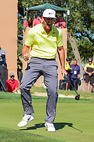 Kevin Chappell (USA) celebrates sinking his birdie putt on 18 to win the 2017 Valero Texas Open, AT&amp;T Oaks Course, TPC San Antonio, San Antonio, Texas, USA. 4/23/2017.<br /> Picture: Golffile | Ken Murray<br /> <br /> <br /> All photo usage must carry mandatory copyright credit (&copy; Golffile | Ken Murray)