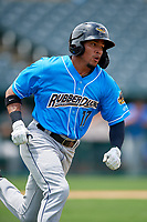 Akron RubberDucks Jorma Rodriguez (17) running the bases during an Eastern League game against the Bowie Baysox on May 30, 2019 at Prince George's Stadium in Bowie, Maryland.  Akron defeated Bowie 9-5.  (Mike Janes/Four Seam Images)
