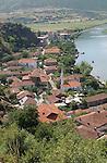 Lin-Pogradec-Albania - August 02, 2004---Partial view of the village of Lin, with its mosque, at Lake Ohrid; region/village of project implementation by GTZ-Wiram-Albania (German Technical Cooperation, Deutsche Gesellschaft fuer Technische Zusammenarbeit (GTZ) GmbH)---Photo: © HorstWagner.eu