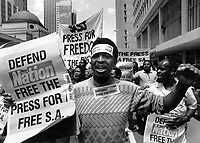 A march for press freedom, protesting against restrictions imposed by the apartheid government on the New Nation and other newspapers.