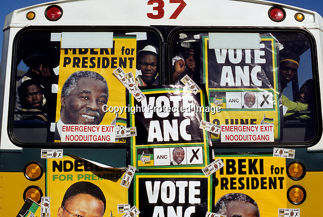 A bus arrives with African national congress (ANC) supporters at a pre-election rally on May 31, 1999 in Durban, South Africa. It was attended by President Nelson Mandela and the (future) deputy President Thabo Mbeki. South Africa voted for the second time in democratic elections, after the historic elections in 1994