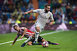 Daniel Carvajal Ramos of Real Madrid runs past Sabin Merino of Athletic Club during their La Liga match between Real Madrid and Athletic Club at the Santiago Bernabeu Stadium on 23 October 2016 in Madrid, Spain. Photo by Diego Gonzalez Souto / Power Sport Images