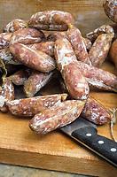 """Europe/Italie/Ombrie/Foligno : Saucisse sèche de l'Ombrie au restaurant-bar à vins """"Il Bacco Felice"""""""