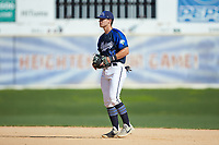 Martinsville Mustangs second baseman Jack Elliot (21) (Mercyhurst) on defense against the High Point-Thomasville HiToms at Finch Field on July 26, 2020 in Thomasville, NC.  The HiToms defeated the Mustangs 8-5. (Brian Westerholt/Four Seam Images)