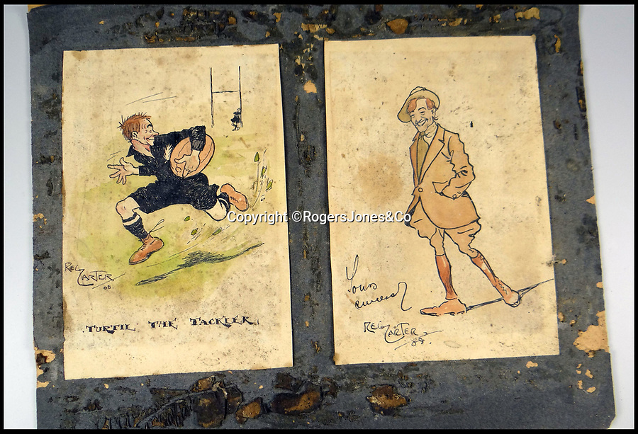 BNPS.co.uk (01202 558833)<br /> Pic: RogersJones&Co/BNPS<br /> <br /> Beano cartoon of Jum from 1908.<br /> <br /> Poignant heirlooms of British born All Black legend killed in the trenches of the Western Front during WW1.<br /> <br /> The rugby jersey of a legendary international player who was killed in battle has emerged for sale for £40,000.<br /> <br /> Jum Turtill was born in England but emigrated to New Zealand as a child and represented the All Blacks in 1905.<br /> <br /> He then returned to Britain to play rugby league for St Helens before enlisting at the outset of World War One.<br /> <br /> Turtill fought in many of the great offensives on the Western Front and eventually lost his life aged 38 at the Battle of Givenchy in April 1918.