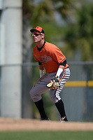 Baltimore Orioles Riley Palmer  (75) during a minor league spring training game against the Boston Red Sox on March 18, 2015 at the Buck O'Neil Complex in Sarasota, Florida.  (Mike Janes/Four Seam Images)