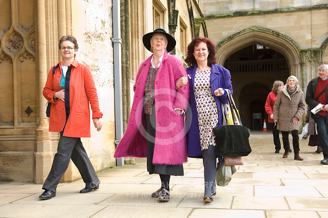 Shirley Hughes (pink coat) with daughter Clara Vulliamy (blue coat) at Christ Church during the Sunday Times Oxford Literary Festival, UK, 16 - 24 March 2013. ..PHOTO COPYRIGHT GRAHAM HARRISON .graham@grahamharrison.com.+44 (0) 7974 357 117.Moral rights asserted.