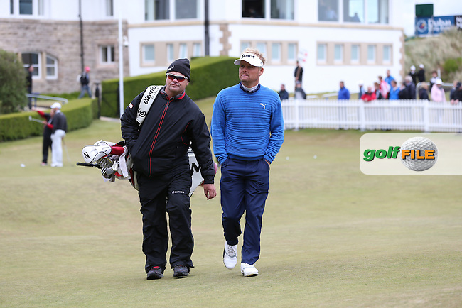 Soren Kjeldsen (DEN) and caddie head to the first tee during Round Three of the 2015 Dubai Duty Free Irish Open Hosted by The Rory Foundation at Royal County Down Golf Club, Newcastle County Down, Northern Ireland. 30/05/2015. Picture David Lloyd | www.golffile.ie