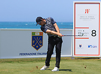 Eddie Pepperell (ENG) on the 8th tee during Round 1 of the Rocco Forte Sicilian Open 2018 on Thursday 5th May 2018.<br /> Picture:  Thos Caffrey / www.golffile.ie<br /> <br /> All photo usage must carry mandatory copyright credit (&copy; Golffile | Thos Caffrey)
