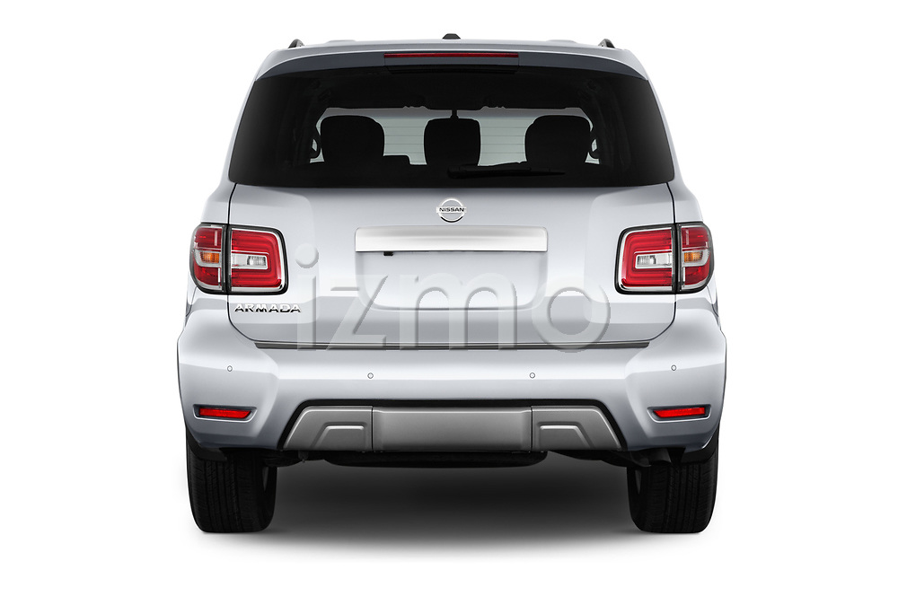 Straight rear view of 2017 Nissan Armada SV 5 Door SUV stock images