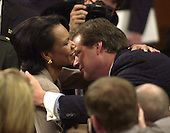 Washington, DC - April 8, 2004 -- Doctor Condoleezza Rice, National Security Advisor, hugs an unidentified victim family member following the conclusion of her testimony before the 9/11 Commission in Washington, D.C. on April 8, 2004.<br /> Credit: Ron Sachs / CNP<br /> [RESTRICTION: No New York Metro or other Newspapers within a 75 mile radius of New York City]