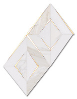 Simone, a waterjet stone mosaic, shown in honed Calacatta Gold, honed Thassos, and brushed Brass, is part of The Studio Line of Ready to Ship mosaics.<br /> *Not recommended for floor installations.