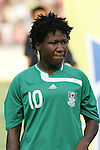 12 August 2008: Rita Chikwelu (NGA).  The women's Olympic team of Brazil defeated the women's Olympic soccer team of Nigeria 3-1 at Beijing Workers' Stadium in Beijing, China in a Group F round-robin match in the Women's Olympic Football competition.