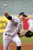 Rice Owls starter Austin Kubitza #21 delivers a pitch during the NCAA baseball game against the North Carolina Tar Heels on March 1st, 2013 at Minute Maid Park in Houston, Texas. North Carolina defeated Rice 2-1. (Andrew Woolley/Four Seam Images).