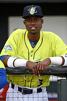 Center fielder Ranfy Adon (3) of the Columbia Fireflies in a game against the Charleston RiverDogs on Thursday, April 4, 2019, at Segra Park in Columbia, South Carolina. Charleston won, 2-1. (Tom Priddy/Four Seam Images)