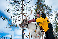 "Solberget, Jokkmokk, Swedish Lapland, Sweden, March 2013. Dirk and Silke Hagenbusch live their lives in a wilderness retreat  called 'Solberget'. It is situated directly on the Arctic Circle, near the nature reserves ""Granlandet"", ""Päivavuoma"" and ""Pellokiellas"", and close to the ""Muddus"" National Park. Here, nature can be experienced in its purest form – far away from civilisation. As an authentic wilderness farm, Solberget is neither connected to public electricity nor to the mains water supply. Water comes from a spring in the woods and is delicious! Oil lamps and the natural warmth of wood burning stoves provides a soft and cosy atmosphere, even with biting frost outside. Photo by Frits Meyst/Adventure4ever.com"
