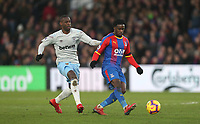 Crystal Palace's Jeffrey Schlupp and West Ham United's Pedro Obiang<br /> <br /> Photographer Rob Newell/CameraSport<br /> <br /> The Premier League - Saturday 9th February 2019  - Crystal Palace v West Ham United - Selhurst Park - London<br /> <br /> World Copyright © 2019 CameraSport. All rights reserved. 43 Linden Ave. Countesthorpe. Leicester. England. LE8 5PG - Tel: +44 (0) 116 277 4147 - admin@camerasport.com - www.camerasport.com