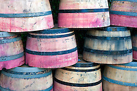 Colored barrels. Napa Valley, California