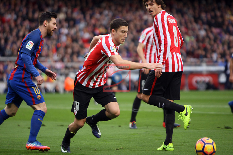 League Santander 2016/2017. Game: 21.<br /> FC Barcelona vs Athletic Club: 3-0.<br /> Lionel Messi vs De Marcos.