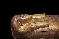 Acient Egyptian sacophagus of Merit -  inner coffin from tomb of Kha, Theban Tomb 8 , mid-18th dynasty (1550 to 1292 BC), Turin Egyptian Museum.  black background