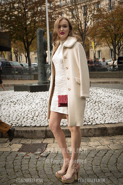 Maddison Brown attend Miu Miu Show Front Row - Paris Fashion Week  2016.<br /> October 7, 2015 Paris, France<br /> Picture: Kristina Afanasyeva / Featureflash