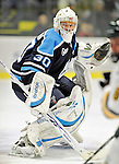30 October 2010: University of Maine Black Bears' goaltender Dan Sullivan, a Freshman from York, PA, in first period action against the University of Vermont Catamounts at Gutterson Fieldhouse in Burlington, Vermont. The Black Bears defeated the Catamounts 3-2 in sudden death overtime. Mandatory Credit: Ed Wolfstein Photo