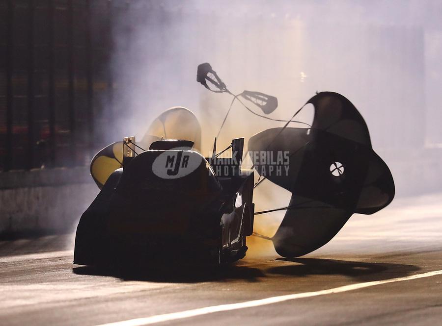 Nov 10, 2018; Pomona, CA, USA; NHRA funny car driver J.R. Todd during qualifying for the Auto Club Finals at Auto Club Raceway. Mandatory Credit: Mark J. Rebilas-USA TODAY Sports