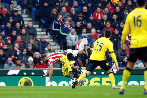 27.02.2016. Britannia Stadium, Stoke, England. Barclays Premier League. Stoke City versus Aston Villa. Idrissa Gueye of Aston Villa fouls Erik Pieters of Stoke City