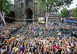 The Netherlands, Utrecht, 05-07-2015, First Stage, Eerste etappe, under the DOMtower/onder de DOM  door Utrecht Tour de France 2015 photo © Michael Kooren/ Utrecht/ the Netherlands