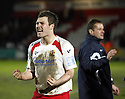 Goalscorer Scott Laird of Stevenage Borough celebrates after victory in the  Blue Square Premier match between Stevenage Borough and Oxford United at the Lamex Stadium, Broadhall Way, Stevenage on Saturday 27th March, 2010..© Kevin Coleman 2010 .