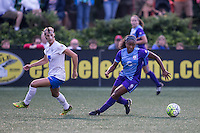 Alston, Massachusetts - July 31, 2016:  The Boston Breakers (white and blue) beat Orlando Pride (purple and blue) 1-0 in a National Womens Soccer League (MWSL) match at Jordan Field.