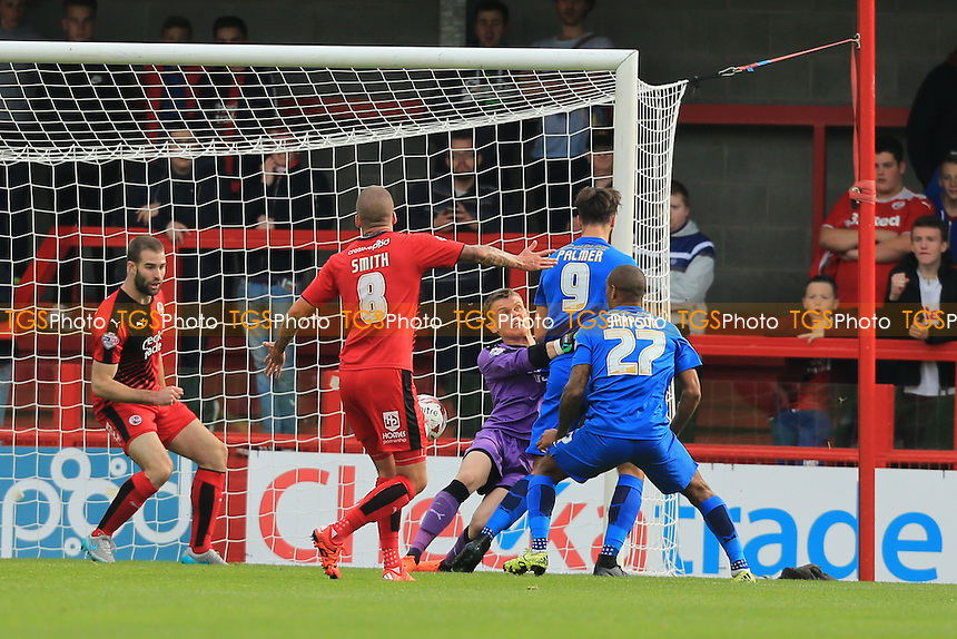 Jay Simpson of Leyton Orient scores the opener after a battle at the near post during Crawley Town vs Leyton Orient, Sky Bet League 2 Football at Broadfield Stadium, Crawley, England on 10/10/2015