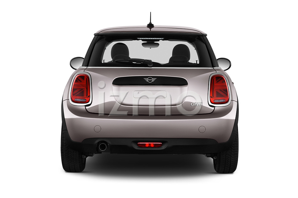 Straight rear view of a 2019 Mini MINI One 3 Door Hatchback stock images