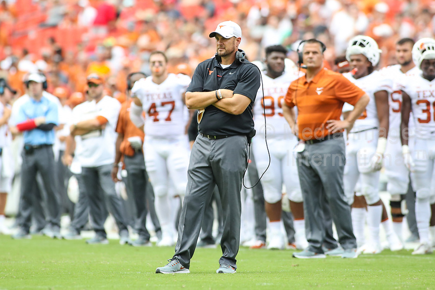 Landover, MD - September 1, 2018: Texas Longhorns head coach Tom Herman waiting for the call during the game between Texas and Maryland at  FedEx Field in Landover, MD.  (Photo by Elliott Brown/Media Images International)