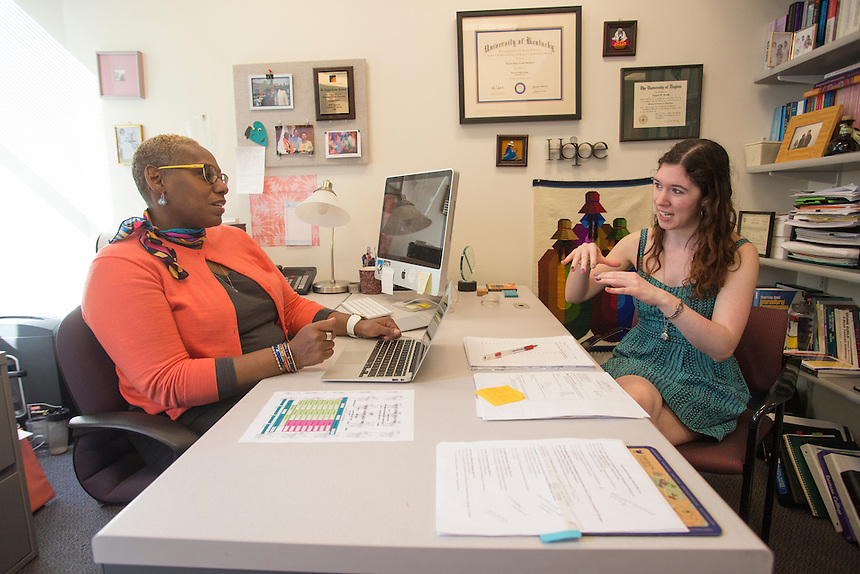 student with faculty, Angela Cooke-Jackson, professor, student, meeting, Jen Tiedemann