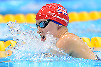 PICTURE BY ALEX BROADWAY /SWPIX.COM - 2012 London Paralympic Games - Day Three - Swimming - Aquatic Centre, Olympic Park, London, England - 01/09/12 - Claire Cashmore of Great Britain competes in the Women's 100m Breaststroke SB8 Heats.