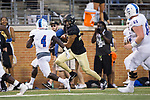 Justin Strnad (23) of the Wake Forest Demon Deacons returns an interception during first half action against the Presbyterian Blue Hose at BB&T Field on August 31, 2017 in Winston-Salem, North Carolina.  (Brian Westerholt/Sports On Film)