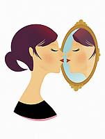 Woman posing as astrology sign Gemini kissing her mirror image ExclusiveImage