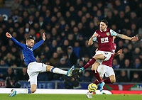 26th December 2019; Goodison Park, Liverpool, Merseyside, England; English Premier League Football, Everton versus Burnley; Gylfi Sigurdsson of Everton clashes with Robbie Brady of Burnley as they compete for the ball  - Strictly Editorial Use Only. No use with unauthorized audio, video, data, fixture lists, club/league logos or 'live' services. Online in-match use limited to 120 images, no video emulation. No use in betting, games or single club/league/player publications