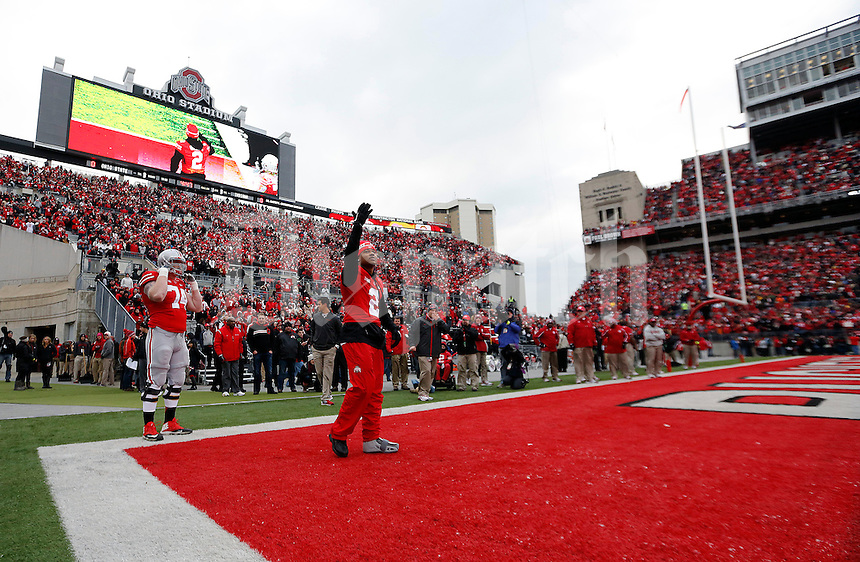 Ohio State Buckeyes safety Christian Bryant (2) says goodbye to the fans during  senior day before the start of their game against Indiana Hoosiers at Ohio Stadium in Columbus, Ohio on November 23, 2013.  (Dispatch photo by Kyle Robertson)