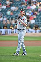 Albuquerque Isotopes starting pitcher Jon Gray (55) during the game against the Salt Lake Bees in Pacific Coast League action at Smith's Ballpark on June 27, 2015 in Salt Lake City, Utah. The Bees defeated the Isotopes 8-6. (Stephen Smith/Four Seam Images)
